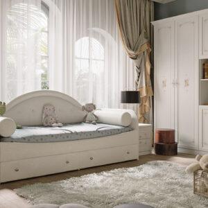 Кровать с мягкой спинкой «Адель» тип 1 с 2-мя подушками-валиками (Крем)