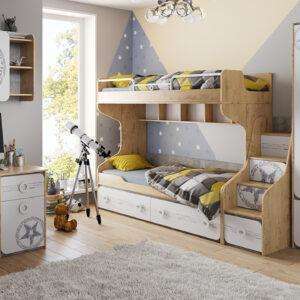 Набор детской мебели «Мегаполис» №1 (Бунратти/Белый с рисунком)